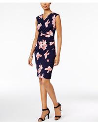 Petite floral print faux wrap sheath dress medium 4271178