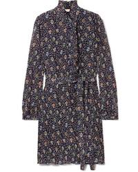 Tory Burch Deneuve Ruffled Floral Print Pliss Tte Dress