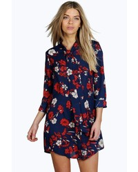 Boohoo Emilia Tie Neck Floral Shirt Dress