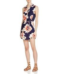 Aqua Floral Print Shirt Dress
