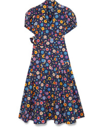 LHD Glades Floral Print Stretch Cotton Broadcloth Midi Dress