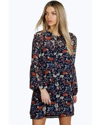 Boohoo Lara Tie Neck Puff Sleeve Floral Shirt Dress