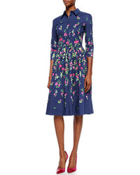 Oscar de la Renta Three Quarter Sleeve Floral Print Shirtdress