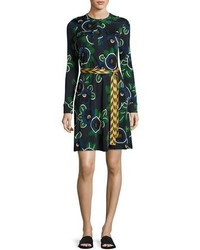 Tory Burch Portia Floral Print Jersey Shirtdress Blue Pattern