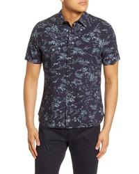 Vince Batik Slim Fit Floral Short Sleeve Button Up Shirt