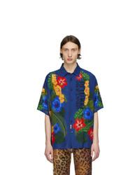 VERSACE JEANS COUTURE Blue Floral Short Sleeve Shirt