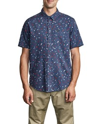 RVCA Calico Floral Short Sleeve Button Up Shirt