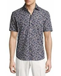 Culturata Floral Print Short Sleeve Cotton Shirt