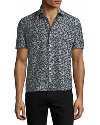 Culturata floral print short sleeve sport shirt medium 6979245
