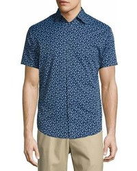 Peter Millar Frenchman Performance Floral Print Short Sleeve Sport Shirt Navy