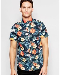 Jack and Jones Jack Jones Short Sleeve Shirt With All Over Floral Print