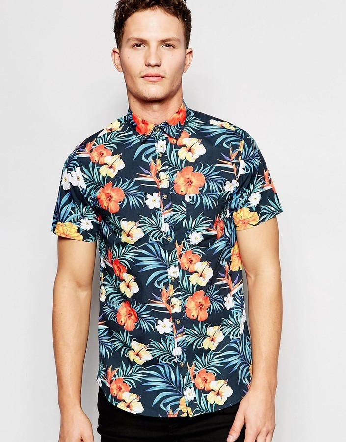 9111414eb ... Jack and Jones Jack Jones Short Sleeve Shirt With All Over Floral Print  ...