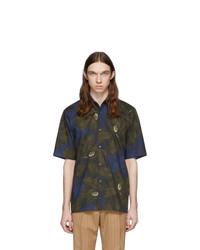 Dries Van Noten Navy And Khaki Clasen Floral Shirt