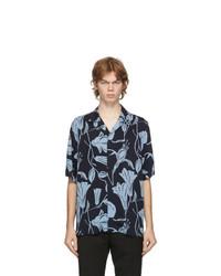 Paul Smith Navy Floral Cutout Short Sleeve Shirt