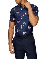 Topman Painted Leaf Short Sleeve Button Up Shirt