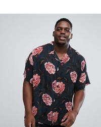 Asos Plus Oversized Viscose Shirt In Floral Print With Revere Collar