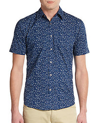 James Campbell Regular Fit Floral Print Cotton Sportshirt