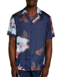 River Island Revere Blurred Floral Print Short Sleeve Button Up Shirt
