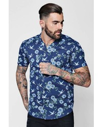 Boohoo Short Sleeve Floral Bird Print Shirt