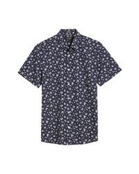 Nordstrom Men's Shop Trim Fit Floral Short Sleeve Non Iron Button Up Shirt