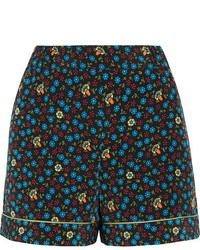 Floral print poplin shorts blue medium 5258865
