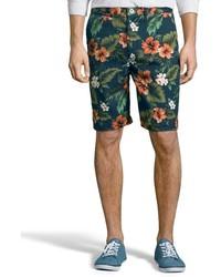 Jachs Navy Floral Print Cotton Tweed Bleecker Bermuda Shorts