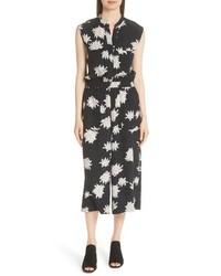 Vince Chrysanthemum Print Silk Jumpsuit