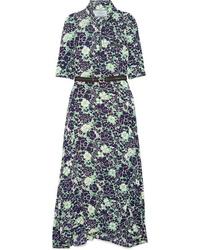 Prada Asymmetric Floral Print Stretch Silk Midi Dress