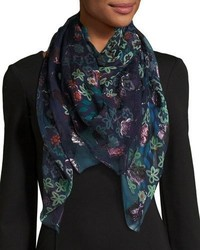 Burberry Floral Metallic Silk Blend Scarf Navy