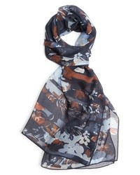 St. John Collection Painted Floral Print Silk Tte Scarf