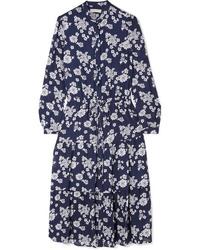 MICHAEL Michael Kors Ruffled Floral Print Silk Chiffon Midi Dress