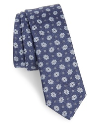 Eleventy Floral Medallion Skinny Silk Tie