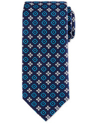 Floral square foulard silk tie navy medium 791468
