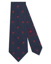 Gucci Heart Flowers Silk Tie