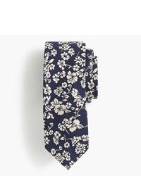 J.Crew Silk Tie In Navy Floral Jacquard