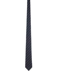 Gucci Navy Red Silk Interlocking G Flowers Tie