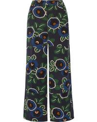 Tory Burch Jacinta Floral Print Silk Crepe De Chine Wide Leg Pants Navy