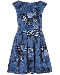 Closet Blue Floral V Back Dress
