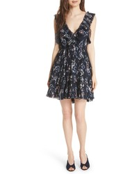Rebecca Taylor Faded Floral Fit Flare Dress