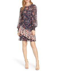 Eliza J Floral Print Contrast Ruffle Chiffon Dress