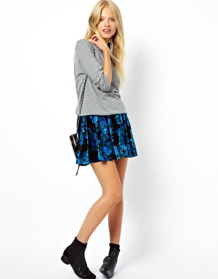 asos skater skirt in velvet floral print blue