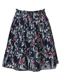 Choies Blue Floral Print Pleated Skirt