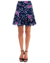 Floral print skirt marine navy medium 213012