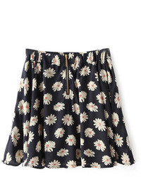 Romwe Floral Print Zippered Navy Blue Skirt