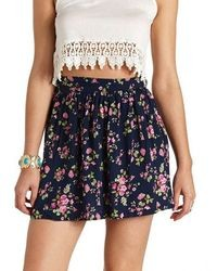 Charlotte Russe High Waisted Floral Print Mini Skirt