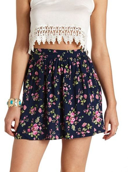 1918166d00 Charlotte Russe High Waisted Floral Print Mini Skirt, $16 ...