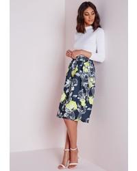 Missguided Marilin Floral Print Midi Skater Skirt