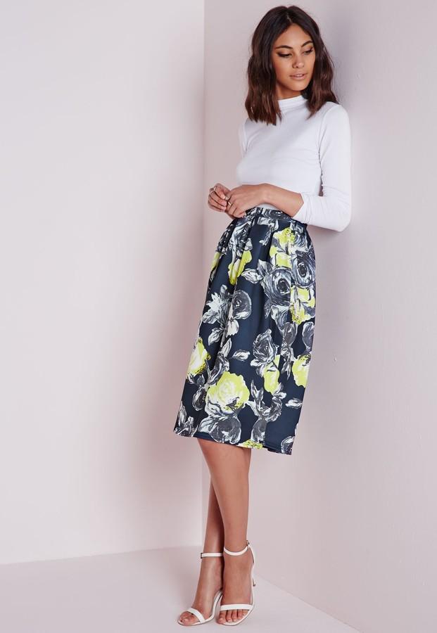 Missguided Marilin Floral Print Midi Skater Skirt | Where to buy ...