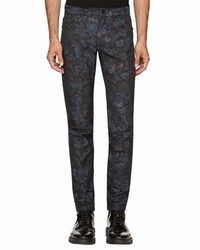Burberry Floral Jacquard Skinny Jeans Navy