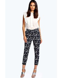 Boohoo Elena Floral Print Stretch Cotton Slim Fit Trouser